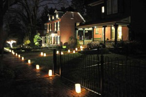 Candle lit walk outside Marshall Square park for West Chester's Old Fashioned Christmas